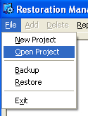 Restoration Manager has a simple to use menu system